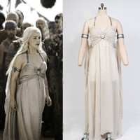 Wholesale 2016 Hot Newest Cosplay Costumes for Women Game of Thrones Mother of Dragons Daenerys Targaryen Cosplay Theme Costume Dresses