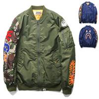 men long coat jacket - New Pilot Flight Jacket New Man Green Blue Bomber Jackets Coat Shark WGM Printed Hip Hop Sweatshirt Hoodies Outwear FXF0726