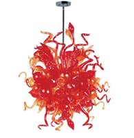art glass chandelier for sale - LR1157 Red Popular Blown Glass Chandelier for Sale Modern Hand Blown Glass Lighting Hotel Price Chihuly Style Chandelier
