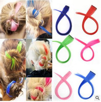 Wholesale Newest Colorful Lady Hair Pieces Fashion Clip Synthetic Straight Hair Decoration Women Hair Piece cm mix color