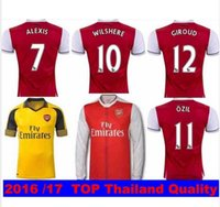 Wholesale 2016 Soccer Jersey Arsenales Football Shirts arsenales Home Red camisas Mesut ozil ALEXIS RAMSEY WALCOTT WILSHERE Maillot de Quality