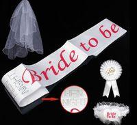 bachelorette party gifts - Bride To Be Set Rosette mantilla Badge Sash Garter Veil tiara Hen Night Bachelorette wedding Party props white girl gift festive supplies