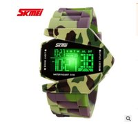 belt buckles modeling - Skmei Best Led Watch For Men Camouflage Aircraft Modeling Electronic Watches Five Color Led Mens Watches Top Brand Luxury