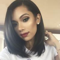 achat en gros de black woman hair-8A à bas prix sans colle complètes Lace Wigs Pour Perruques Cheveux noirs Femmes Couleur naturelle brésilienne Soie Hétéro humaines Perruques avec bébé cheveux