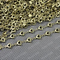 antique copper jewellery supplies - 10 MM Antique Bronze handmade heart beads copper chains jewelry components crafts materials jewellery making findings supplies