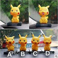 automobile plastic - Poke Toys Children Kids inch Cosplay Cartoon Pikachu Action Movie Games Figures PVC Toys Shaking Head Automobile Dolls CCA5019