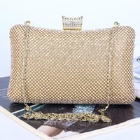 Wholesale Crystal Beaded Bag - black gold silver 3 colors purse ladies party clutch bag Handmade rhinestone Crystal beaded bling evening bag with chain