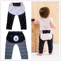 Wholesale INS Kids PP Pants Harem Trousers Baby Infant Cartoon Rabbit Bear Fox Children Clothes Cotton Autumn Winter Cute Polka Dot Printed Bottoms