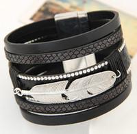 bezel set designs - 5Colors European Magnet Leather Wrap Bracelet Women Crystal Bracelet Leaf Design Unisex Top Brand Men Bracelet Fashion Silver Charm Bracelet