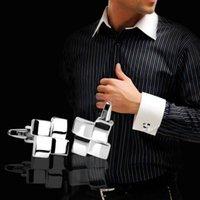 Wholesale Men s Silver Geometric Dress Shirt Cufflinks Cuff Links Wedding Groom Gift C00039 SPDH