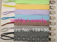 baby bib clip - 160pcs colors DHL Chevron Grosgrain Ribbon Pacifier Clips with Elastic Baby Girl Pacifier Clip Bibs amp Burp Cloths