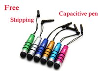 Wholesale Capacitive Pen For All Capacitive Screens Bullet Capacitive Pen Phone Pendant Accessories Cell Phone Stylus Pens For Samsung Seven Colors