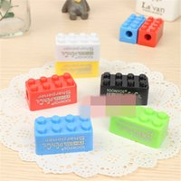 Wholesale A Cute Cartoon Cute Toy Bricks Plastic Pencil Sharpener Creative Projects For Children Gift Stationery Color Random Send