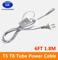 Wholesale US Plug ft T5 T8 LED Tube Wire switch Connector With ON OFF Switch Power Cord Extension Pigtail Cord for Lamp Light Port