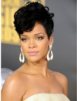 Wholesale Fashion short hair wig hair High quality Wavy synthetic Wig for Women Black Female Rihanna Wavy Celebrity new