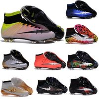 Wholesale 100 Original Mercurial Superfly CR7 FG AG Mens Magista Soccer Cleats Boots Hypervenom Kids Football Shoes Womens High Top Ankle Outdoor