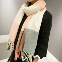 Wholesale Women Brand Designer style Tassel Plaid Scarf Fashion Wool Winter Scarf Thick Shawls and Scarves for Women