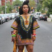 Wholesale 2016 Nuevo Verano Estilo Moda Mujeres Imprimir Partido Corto Manga Tradicional Africano Dashiki Africano Vestido de Ropa de Talla grande