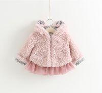 bear ears clothing - Pretty Baby Girls Organza Fur Coats Winter Kids Bear Ear Hood zipper Coats Cute Little Girls Outerwear Korean Children Clothing