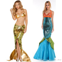 Wholesale Sunshine Golden Blue Mermaid Mystery Fun Game Uniform Set Halloween Costume Ball Cosplay