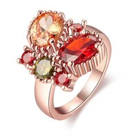 big green jewelries - Big Ring Costume Party Jewelry Rose Gold Plated Butterfly Animal Ring Women Rings With Red Blue Green Yellow Zircon Stone Jewelries RG
