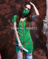 adult doctor games - 20set Adults Female Women Green Horror Blood Nurse Zombie Doctors Dress Horror Halloween Roleplay Makeup Cosplay Costume