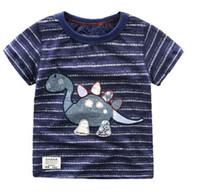 Wholesale 2016 Summer New Boy T shirts Dinosaur Stripe Cartoon Cotton Short Sleeve T shirts Children Clothing