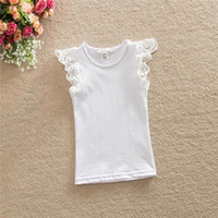 Wholesale White Lace top Baby girls Tees Baptism Baby Ruffle Sleeve Singlet summer girls Toddler outfit Candy Color top for kids