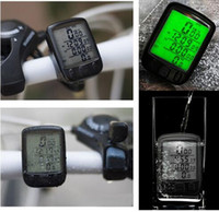 Wholesale 2016 Sunding SD B Waterproof LCD Display Cycling Bike Bicycle Computer Odometer Speedometer with Green Backlight