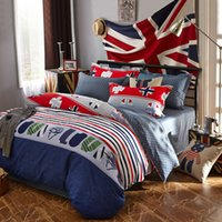 barcode printing machine - love barcode bedding sets England jeans style linens UK flags blue red stripes sheets sets Queen Double size duvet cover set