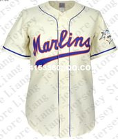 Wholesale Deluxe Edition Retro Mens Miami Marlins Home Baseball Jersey beige Throwback or Custom any number name Stitched jerseys