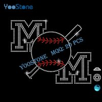 baseball mom t shirts - 2016 Newest Hotfix Rhinestones Motif Baseball Mom Iron On Rhinestone Transfer Designs For DIY t Shirts Decoration