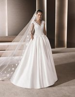 arab customs - Vintage Arab Scoop Sleevess A Line Wedding Dresses Lace V Neck plus size wedding dress Cathedral Train white wedding gowns