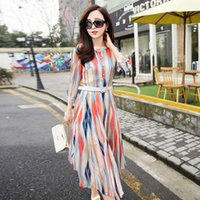 Wholesale 2016 new Korean Slim waist was thin fashion striped long sleeved dress temperament long section