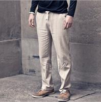 Wholesale 2016 New Mens Casual linen pants men s breathable Fresh Loose Linen Sweat Trousers