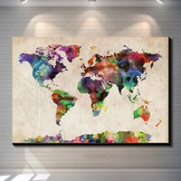 abstract watercolours - Vintage abstract watercolour map posters painting pictures print on the canvas Home Wall art decoration retro world map canvas painting post