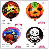 al por mayor globo en forma de bebé-2016 nueva de Halloween regalo calabaza cabeza del cráneo de globos de la hoja juguetes del bebé de la forma decoraciones de las fuentes del partido 50 PC / porción DHL diseña