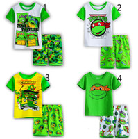 Wholesale Boys Teenage Mutant Ninja Turtles Pajamas suits Design children TMNT cartoon Short sleeve T shirts shorts suit baby clothes B001
