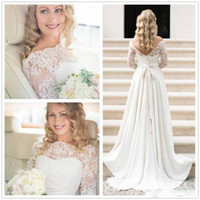 Wholesale 2016 Vintage Long Sleeves Lace Empire Bohemian Wedding Dresses Bateau Chiffon Bows Ruffles Floor Length Plus Size Garden Bridal Gowns