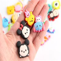 Wholesale 50pcs New TSUM Mickey Minnie Elsa Anna cartoon Soft decoration accessories Shoe Charms Flat PVC DIY Gadgets Novelty kids gifts