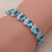 lead free nickel free - Royal Design Crystal K white Gold Plated Bracelets for women Light Blue Topaz Health Nickel amp Lead free fashion jewelry TB396A