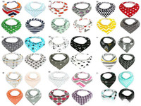 Wholesale 17 groups Cartoon INS baby bibs Burp Cloths Triangle Burp Saliva Kids Infant double layers cotton Toddler Bandana Scarf Turban Baby Feeding