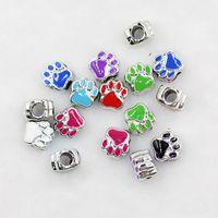 Wholesale Hot Mic Colors Silver Plated Enamel Bear Paw Print Big Hole Beads Fit European Bracelets
