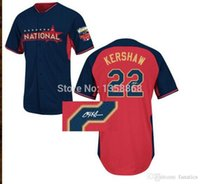 autographed baseballs - 2015 New Clayton Kershaw All Star Jersey Stitched Autographed Clayton Kershaw Blue National All Star Jersey Mix Order