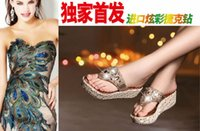 bead injection - 2016 summer new heavy bottomed flash gold beads in Europe with comfortable slippers thick crust wild fashion casual genuine female sandals