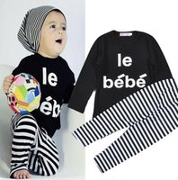 bebe winter coats - Children Outfits Set Spring Autumn baby boy girl clothes set letters le bebe long sleeve t shirt stripe Trousers Kids Clothing M T