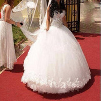 Wholesale 2016 Plus Size Wedding Dresses Fashionable Ball Gown White Appliqued Crystals Rhinestoned Wedding Dresses Luxury wedding dress