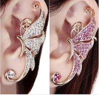 african butterfly clips - Left Ear Cuff Womens Clip Clamp Earrings pc Shiny Butterfly Wings Shape Silver and Pink Diamond Butterfly Earring Women Jewelry