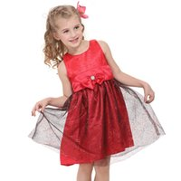 Wholesale NOVA Baby Kids Maternity Girl s dresses95 Cotton Spandex for school Dresses for kids Girl s clothes Flowers print red