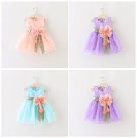 Wholesale Newborn baby girls princess party dresses girl prom dress Big Bowknot Voile Dress Shining Flower girl Wedding dress LC348